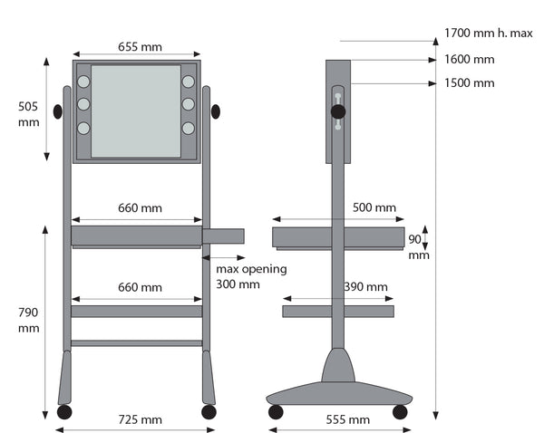 L400 Makeup Workstation - dimensions