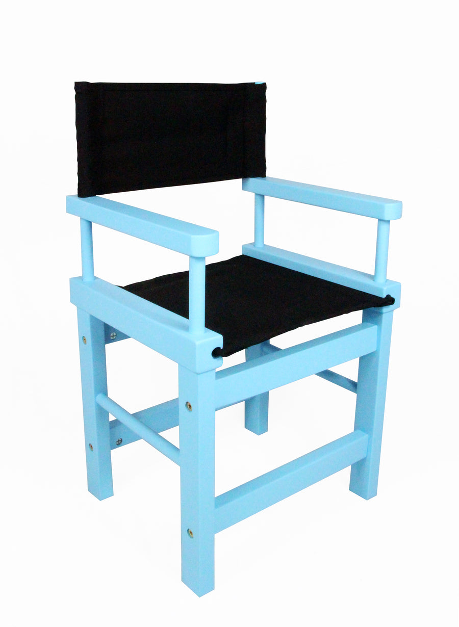 Kids' Directors Chair - Blue Frame, Black Canvas