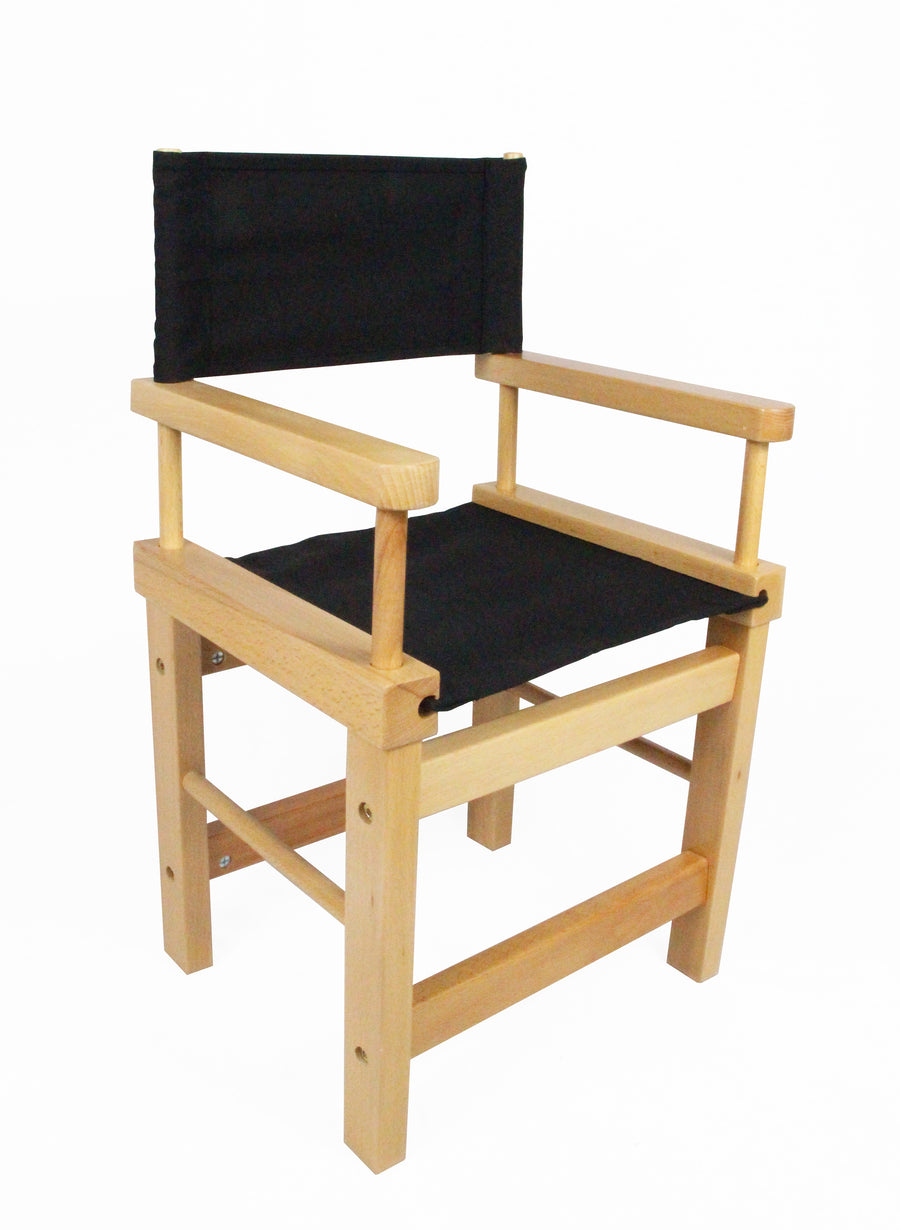 Kids' Directors Chair - Natural Frame, Black Canvas