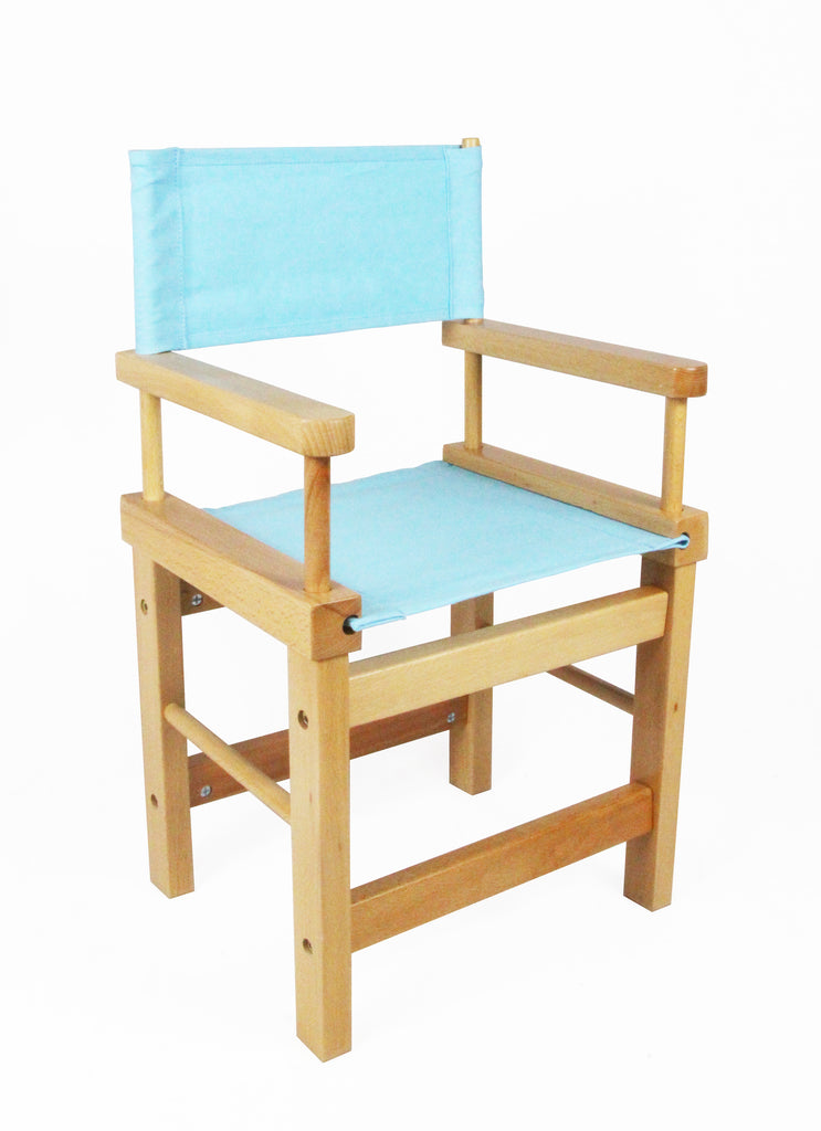 Kids' Directors Chair - Natural Frame, Blue Canvas