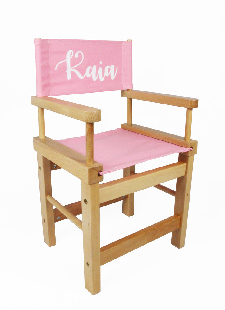 Kids' Directors Chair - Natural Frame, Pink Canvas