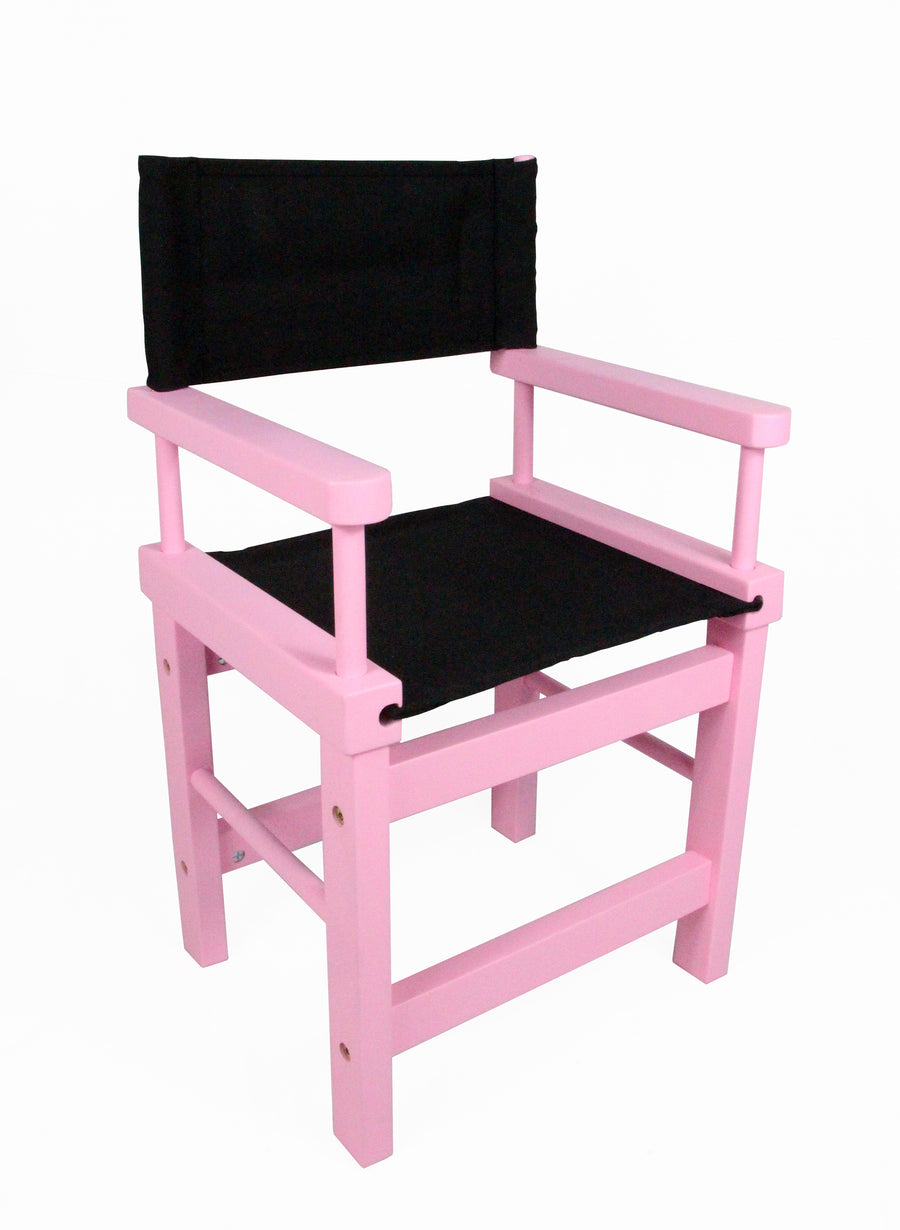 Kids' Directors Chair - Pink Frame, Black Canvas