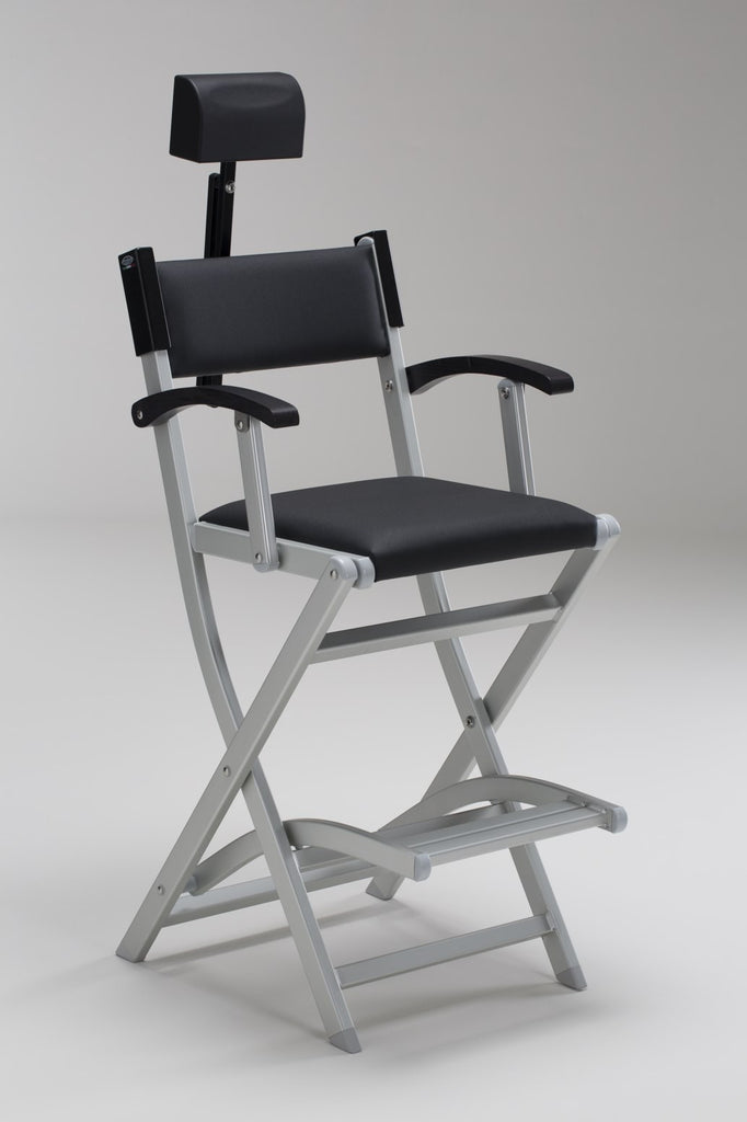 Padded Folding Aluminium Salon Armchair - Personalise Online - With Headrest Attached