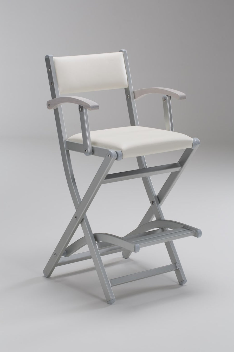 Padded Folding Aluminium Salon Armchair - Personalise Online - White Seat