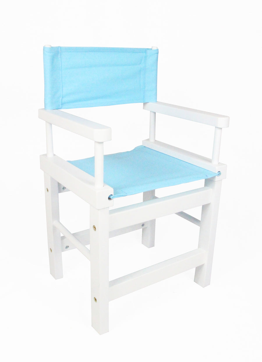 Kids' Directors Chair - White Frame, Blue Canvas