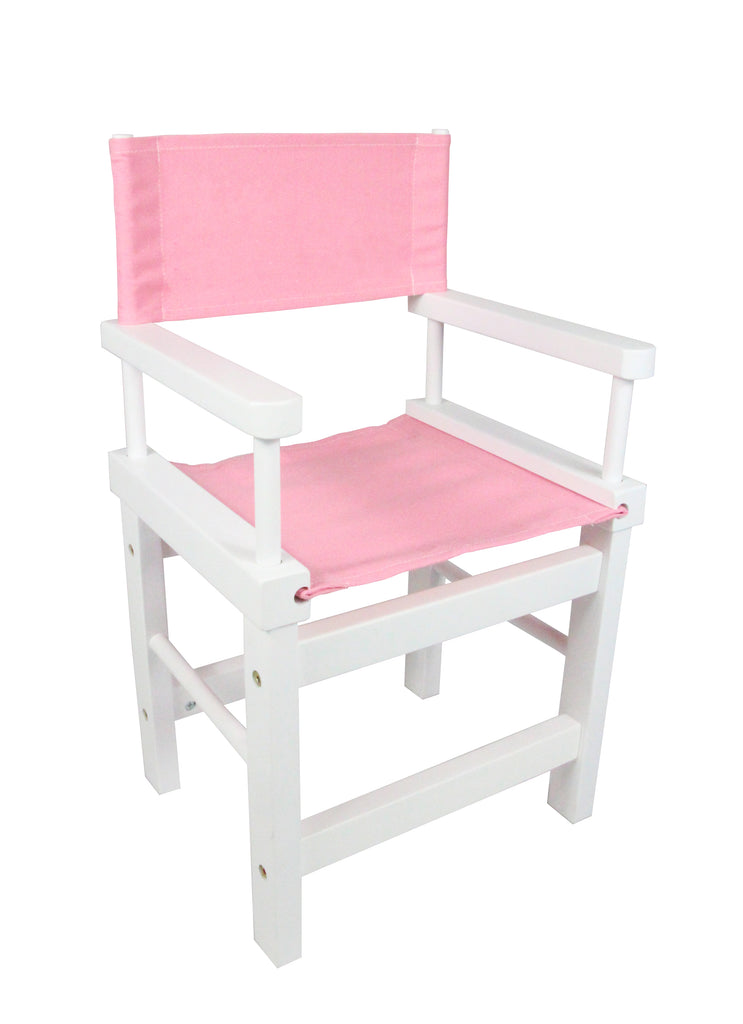 Kids' Directors Chair - White Frame, Pink Canvas
