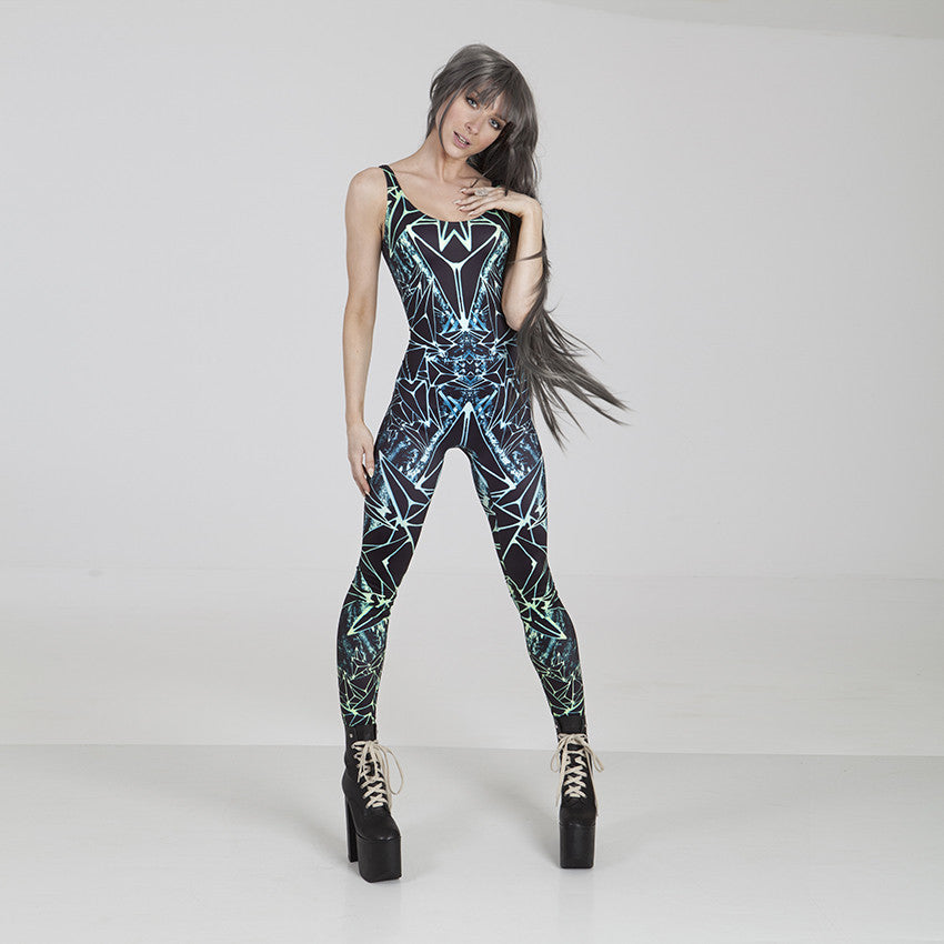 PRE-ORDER Diamond Warrior - Strappy catsuit in Forest