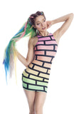 BUBBLEWALL BODYCON IN RAINBOW RAVE