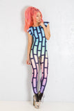 Bubblewall Cap Sleeved Catsuit in Mermaid Dreamz