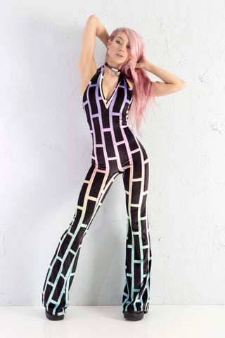 PRE ORDER Bubblewall Velvet Flare Catsuit in UV Neon