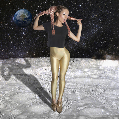Gold Cosmic Holographic Leggings