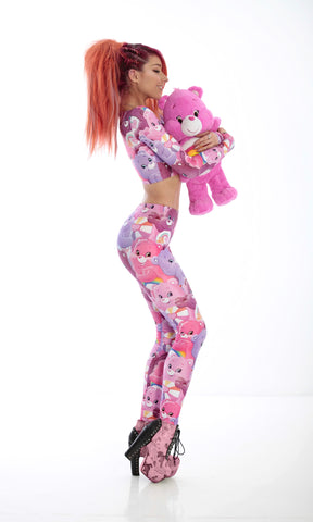 PRE-ORDER CARE BEARS LONG SLEEVE CROP TOP - PINK