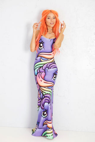 MLP Rainbow Gosh Strappy Maxi Dress