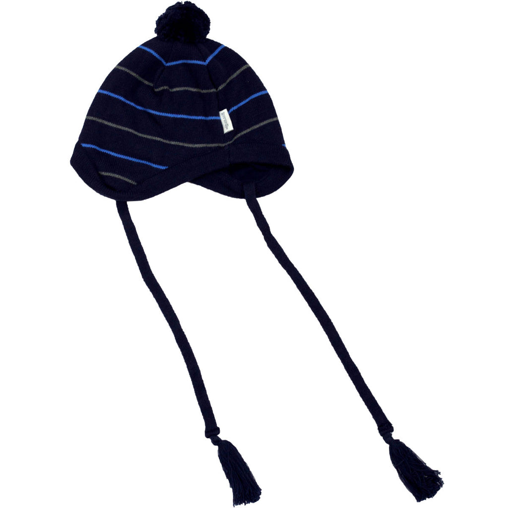 Korango ON SALE Boys Striped Knit Beanie - Navy