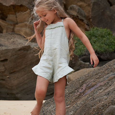 Mii Love Mu Girls Linen Flared Romper