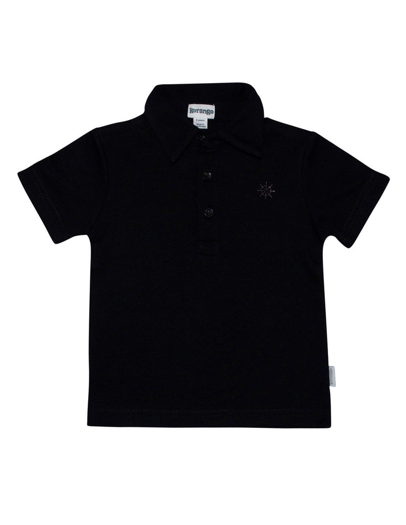 Korango ON SALE Boy Check Mate Boys Polo - Black Navy - Prairie Lane Boutique for Kids