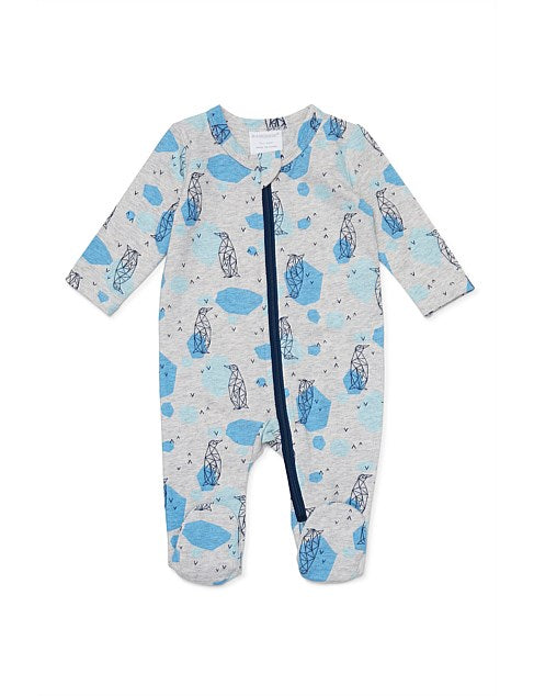Marquise Long Sleeve Footed Zipsuit Penguin Print - Prairie Lane Boutique for Kids