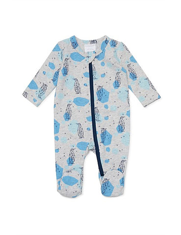 Marquise Long Sleeve Footed Zipsuit Penguin Print