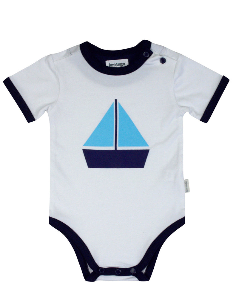 Korango ON SALE Baby Boy Sail Away Bodysuit - White - Prairie Lane Boutique for Kids