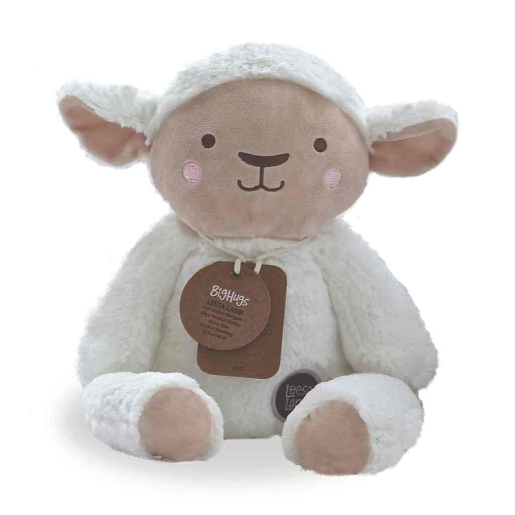 O.B. Designs  LEESA LAMB (WHITE) HUGGIE  White Lamb stuffed animal soft toy ages 0+ Baby Toy