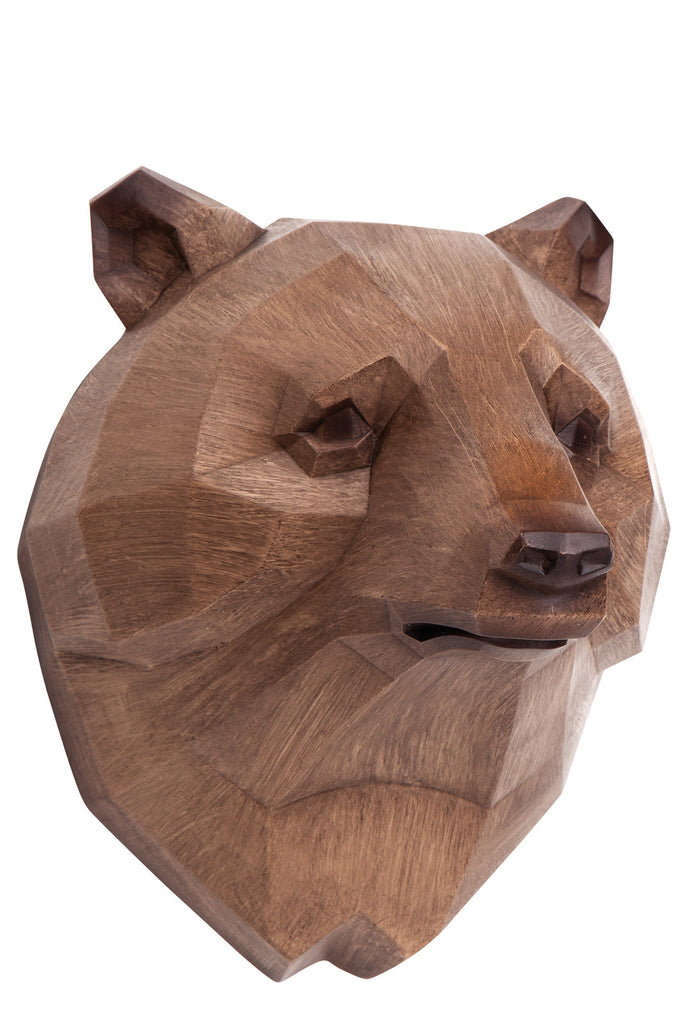 Micky & Stevie Wall Mount - Wood Look Bear Head - Prairie Lane Boutique for Kids