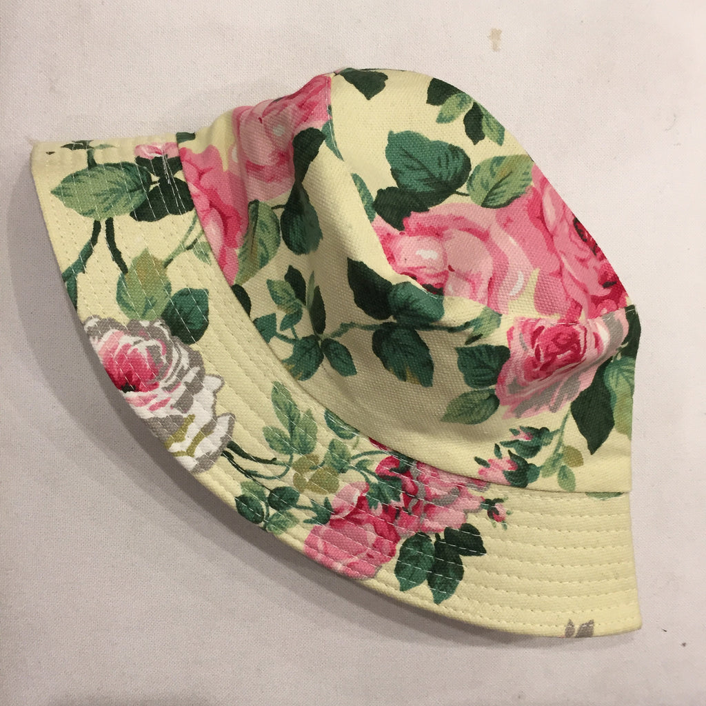 Girls Floral Yellow Bucket Hat