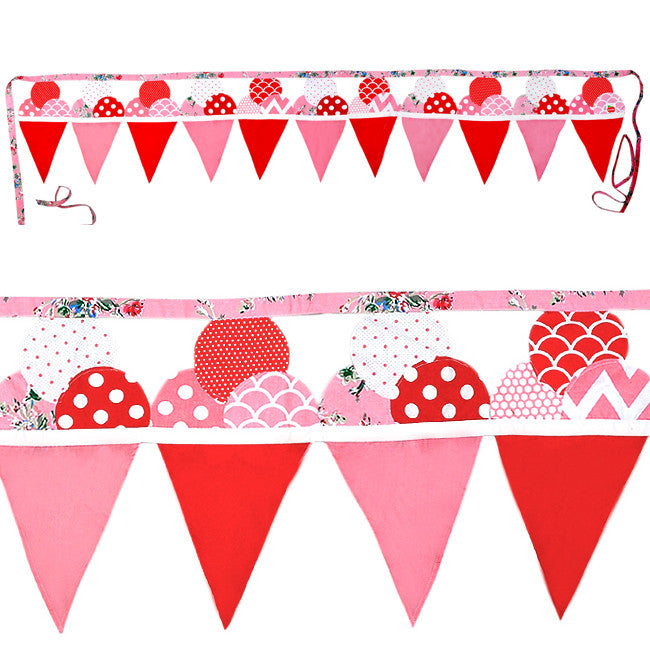 Oobi Pink and Red Icecream Bunting