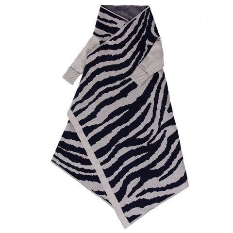 Animal Pattern Shwrap Navy /Silver