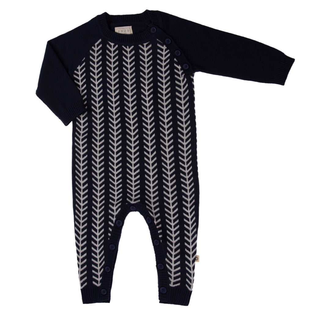 Jujo Baby Onesie - Feathered Line - Navy Ecru - Prairie Lane Boutique for Kids