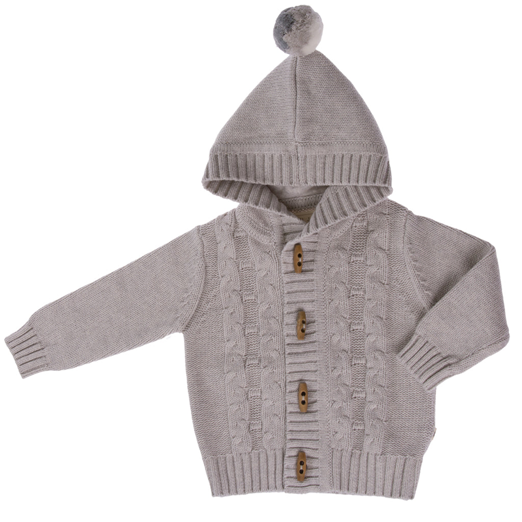 Jujo Baby Cable Jacket - Silver - Prairie Lane Boutique for Kids
