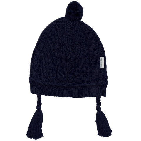 Korango ON SALE Baby Girl Cable Knit Lined Beanie - Navy