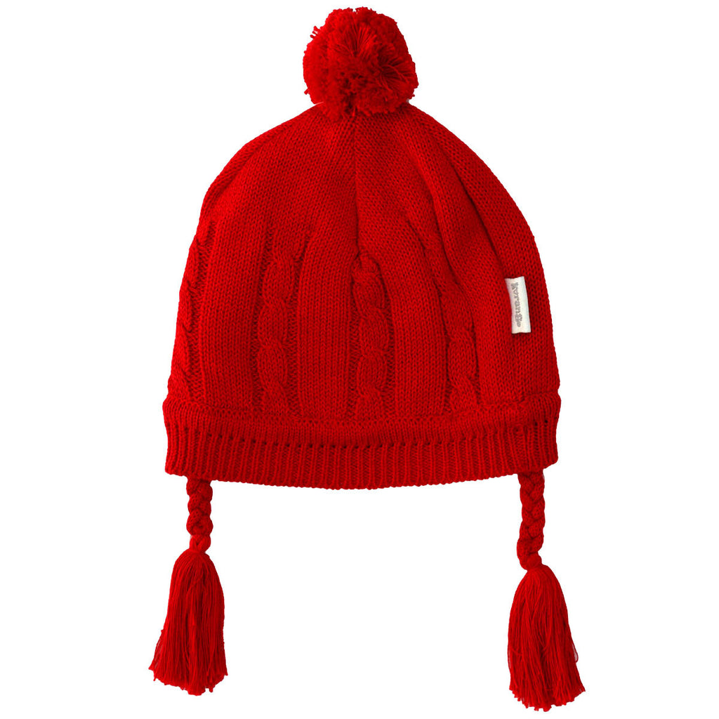 Korango ON SALE Baby Girl Cable Knit Lined Beanie - Red - Prairie Lane Boutique for Kids
