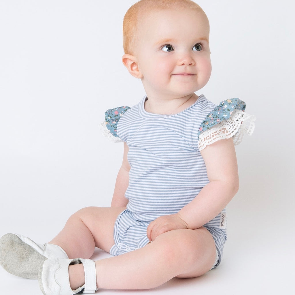 Love Henry Girls Knit Romper Blue Stripe - Prairie Lane Boutique for Kids