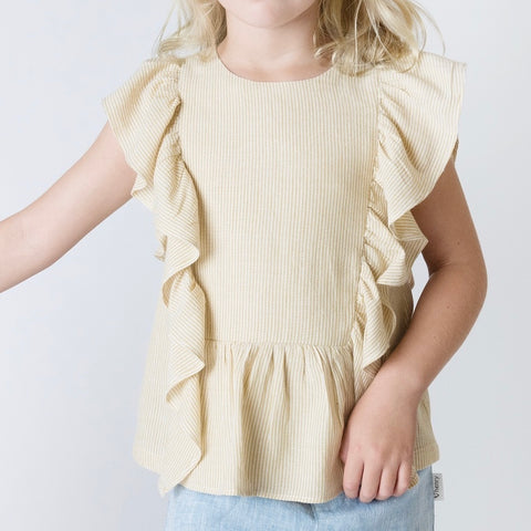 Love Henry Girls Bonnie Top - Yellow Stripe - Prairie Lane Boutique for Kids