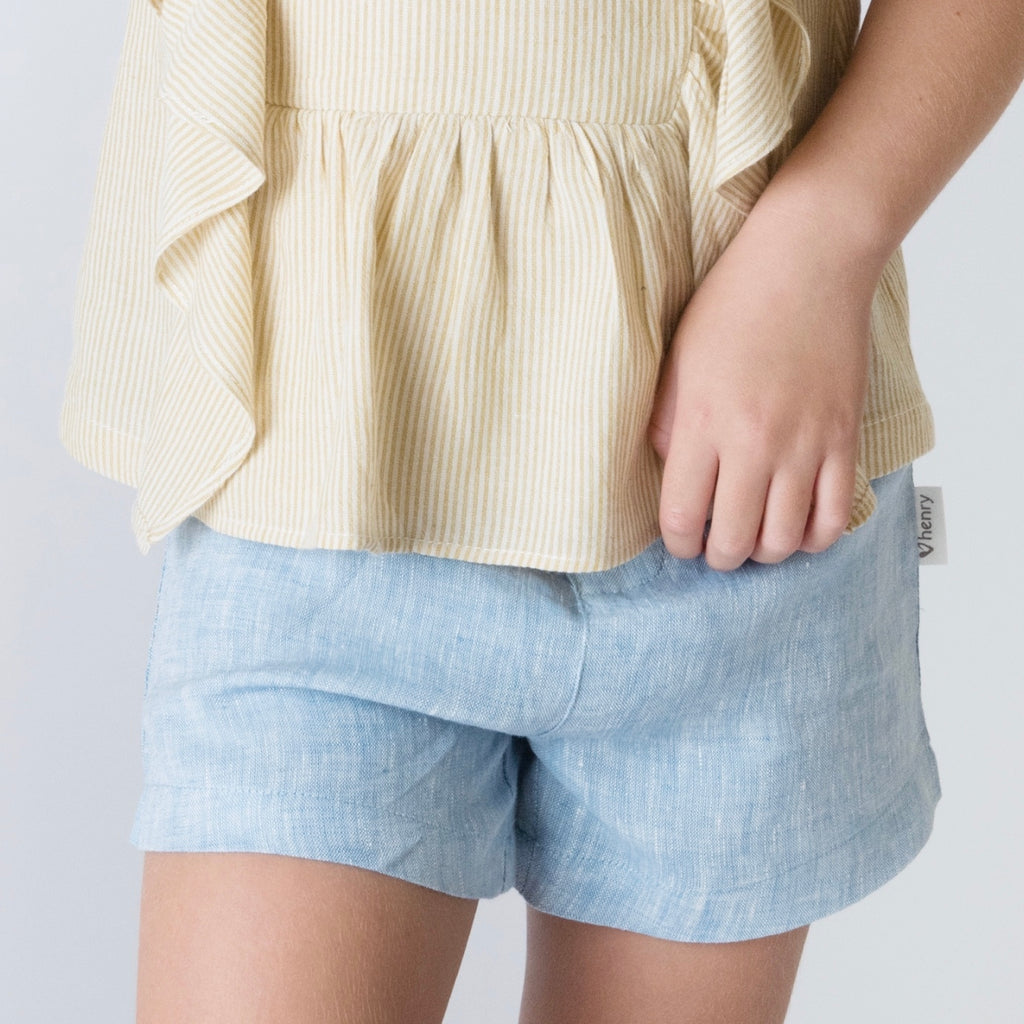 Love Henry Girls Tailored - Shorts Blue Linen - Prairie Lane Boutique for Kids