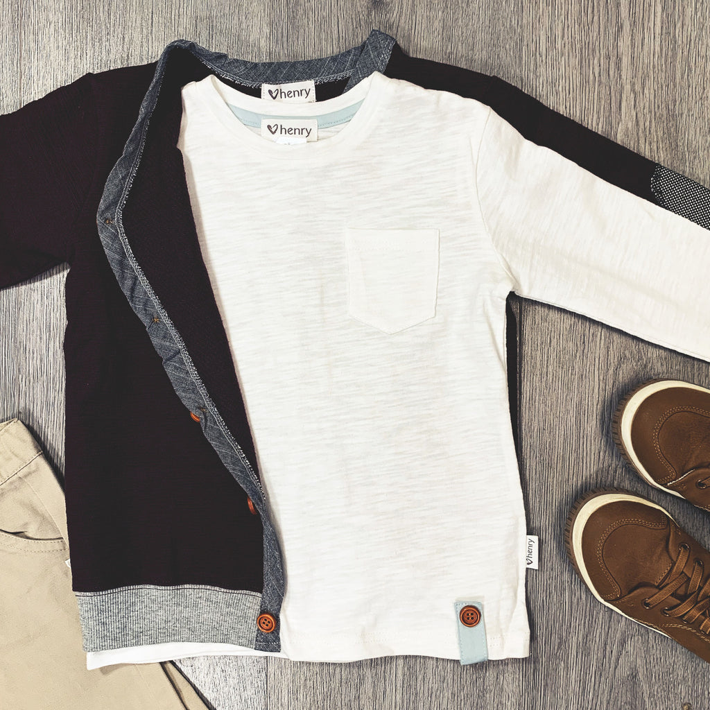 Love Henry Basic Pocket Long Sleeve Tee White