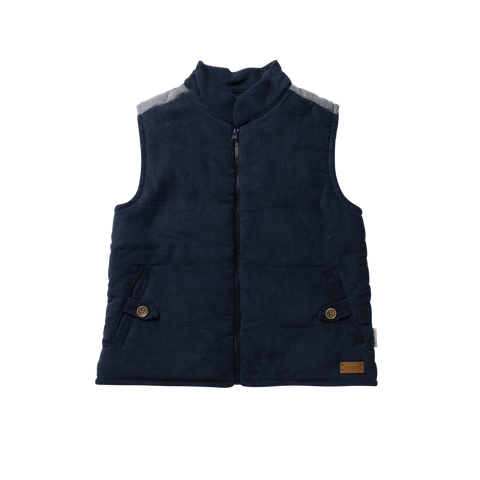 Love Henry Boys Cooper Puffer Vest In Navy Cord