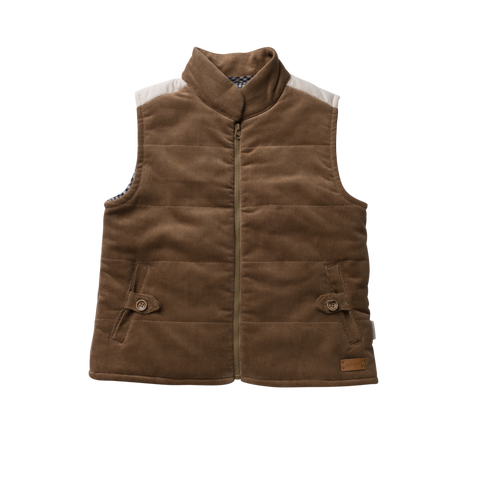 Love Henry Cooper Puffer Vest Taupe Cord size 4-6