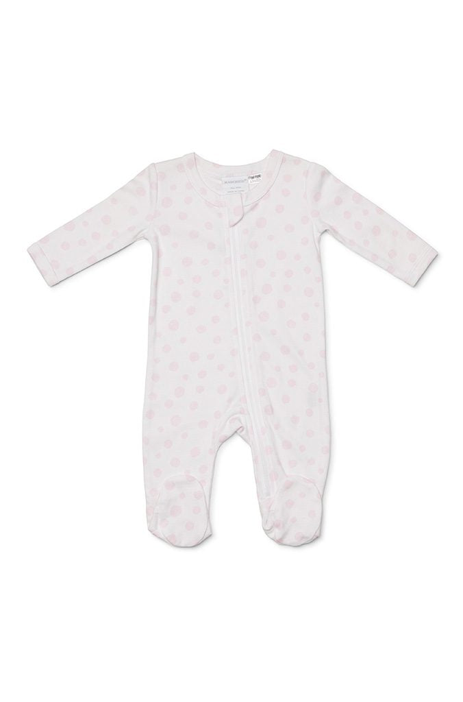 Marquise Baby Girl Zipsuit - White with Pink Spots