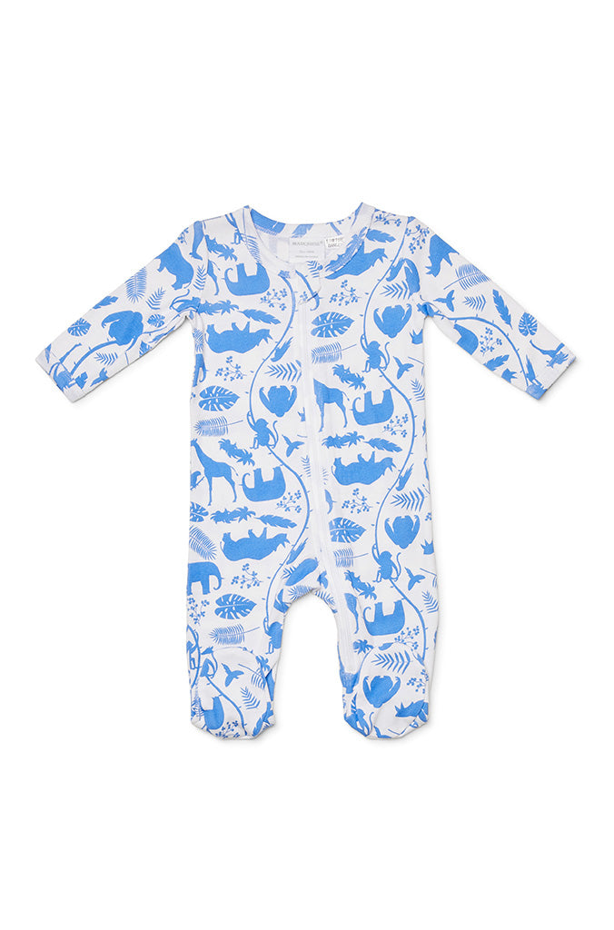 Marquise Baby Zipsuit - Blue Animals - Prairie Lane Boutique for Kids