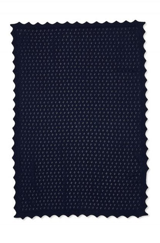 Marquise Cotton Knit Baby Blanket Navy - Prairie Lane Boutique for Kids