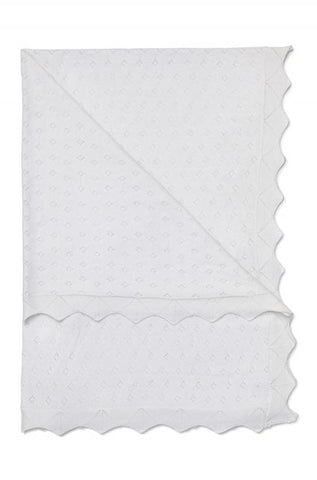 Marquise White cotton Baby Blanket