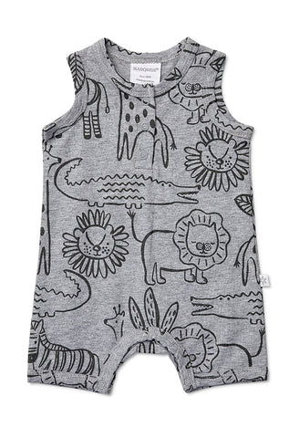 Marquise Safari Print Sleeveless Romper
