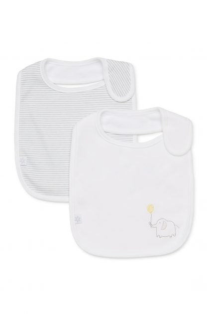 Marquise 2 Pack Bib - Elephant (White and Grey) - Prairie Lane Boutique for Kids
