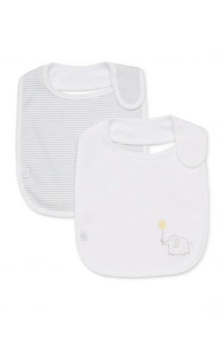 Marquise 2 Pack Bib - Elephant (White and Grey)