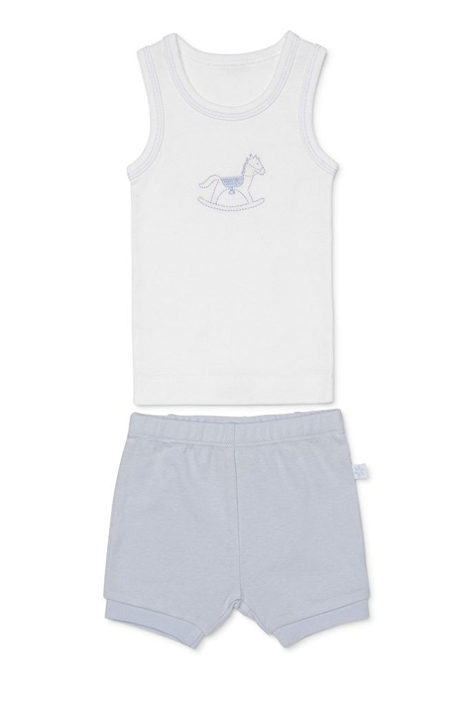 Marquise Baby Boy Blue Rocking Horse Singlet and Short Set - Prairie Lane Boutique for Kids