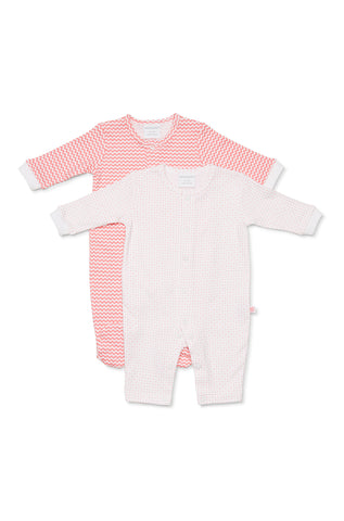 Marquise 2 Pack Combo Studsuit - Pink spots/ Zigzag - Prairie Lane Boutique for Kids