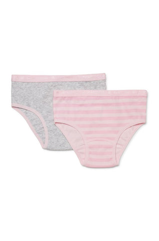 Marquise 2 Pack Underwear - Girls Pink stripe/Marle Everyday Underwaer