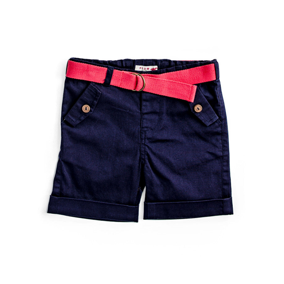 Plum Baby Boy Twill Shorts in Navy ON SALE
