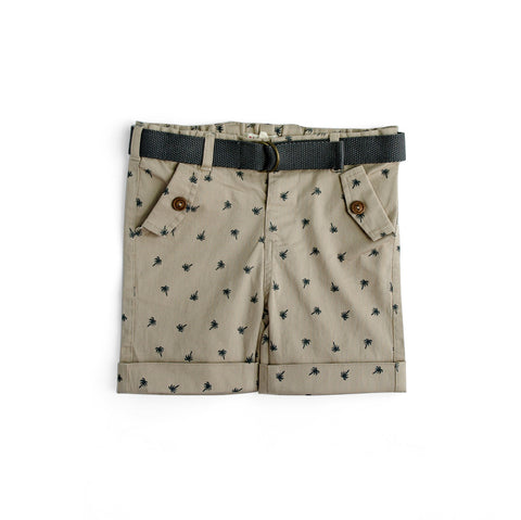 Plum Baby Boy Twill Shorts in Stone ON SALE